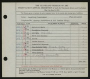 Entry card for Landesman, Geoffrey, and Caxton Company for the 1939 May Show.