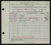 Entry card for Lange, Katharine Gruener for the 1939 May Show.