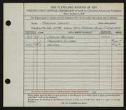 Entry card for Laskey, Marcena for the 1939 May Show.