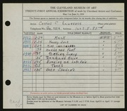 Entry card for Lawrence, Cassius C. for the 1939 May Show.