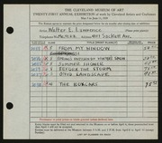 Entry card for Lawrence, Walter E. for the 1939 May Show.