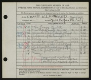Entry card for Leonard, Grace Verne, and Cubel, Edward; Horton, Frank for the 1939 May Show.