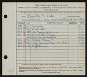 Entry card for Letts, Donald Sherwood for the 1939 May Show.