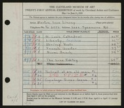 Entry card for Linsey, Martin  for the 1939 May Show.