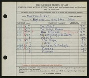 Entry card for Lueke, Matha for the 1939 May Show.