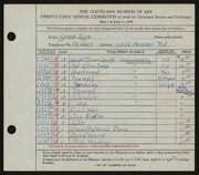 Entry card for Luse, Grace, and Eckhard, Edris for the 1939 May Show.