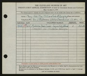 Entry card for MacMillin, Mary Ann, and Quigley, Viola W. for the 1939 May Show.