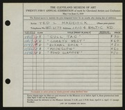 Entry card for Maddock, Ted for the 1939 May Show.