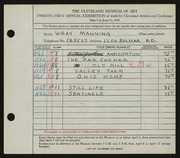 Entry card for Manning, Wray for the 1939 May Show.