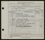 Entry card for Mayer, Henry M. for the 1939 May Show