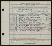 Entry card for McClean, Clara for the 1939 May Show.