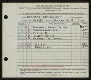 Entry card for McDermott, Bernard for the 1939 May Show.