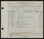 Entry card for McLelland, Ronalda for the 1939 May Show.