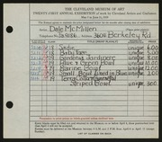 Entry card for McMillen, Dale for the 1939 May Show.