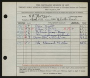 Entry card for Metzger, Hal W. for the 1939 May Show.