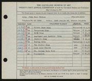 Entry card for Miller, John Paul for the 1939 May Show.