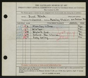 Entry card for Mink, David, and Manning Studios, Inc. for the 1939 May Show.