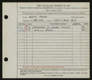 Entry card for Mink, Norve for the 1939 May Show.