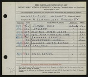 Entry card for Moriarty, Madeleine for the 1939 May Show.