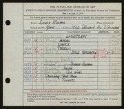 Entry card for Morris, Louise for the 1939 May Show.
