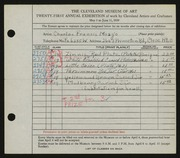Entry card for Mosgo, Charles Francis for the 1939 May Show.