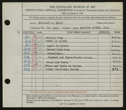 Entry card for Mulac, Margaret E. for the 1939 May Show.