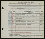 Entry card for Naukler, Henning for the 1939 May Show.