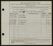 Entry card for Neufeld, Kate for the 1939 May Show.