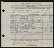 Entry card for Neufeld, Woldemar for the 1939 May Show.
