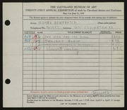 Entry card for Newhauser, Herman for the 1939 May Show.