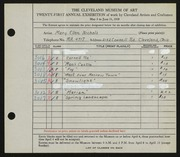 Entry card for Nichols, Mary Ellen for the 1939 May Show.