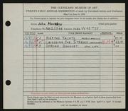 Entry card for Novotny, John for the 1939 May Show.