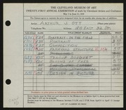 Entry card for Ott, Arthur J. for the 1939 May Show.