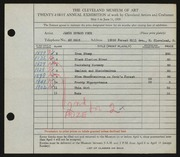 Entry card for Peck, James Edward for the 1939 May Show.