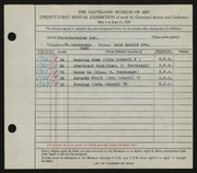 Entry card for Phototechnics, Inc., and Connell, John V. for the 1939 May Show.
