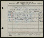 Entry card for Putnam, Ruth for the 1939 May Show.