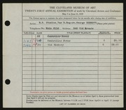 Entry card for Rorimer-Brooks Studios, and Rogers, Van R.; Bennett, George Edward for the 1939 May Show.