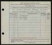 Entry card for Ranney, Helen Stecher for the 1939 May Show.