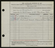 Entry card for Regalbuto, Louis A. for the 1939 May Show.