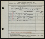Entry card for Reusser, Hans E. for the 1939 May Show.
