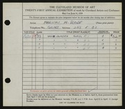 Entry card for Rose, Melvin for the 1939 May Show.