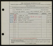 Entry card for Russell, Frederick K. for the 1939 May Show.