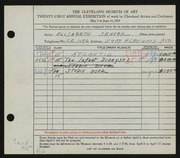 Entry card for Seaver, Elsbeth for the 1939 May Show.