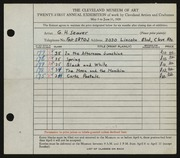 Entry card for Seaver, Gilbert H. for the 1939 May Show.