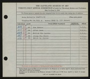 Entry card for Sheffield, Nathelle for the 1939 May Show.
