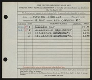 Entry card for Shields, Houston for the 1939 May Show.