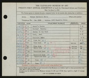 Entry card for Sills, Esther Marshall for the 1939 May Show.