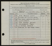 Entry card for Simmons, Albert Dixon for the 1939 May Show.