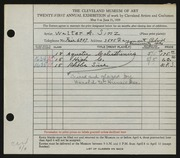 Entry card for Sinz, Walter A. for the 1939 May Show.
