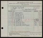 Entry card for Lee-Smith, Hughie for the 1939 May Show.